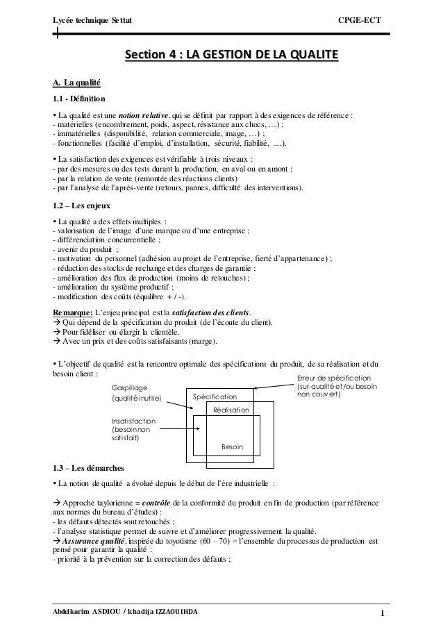 Lycée technique Settat CPGE-ECT Abdelkarim ASDIOU / khadija IZZAOUIHDA 1 SSeeccttiioonn 44 :: LLAA GGEESSTTIIOONN DDEE LLA...