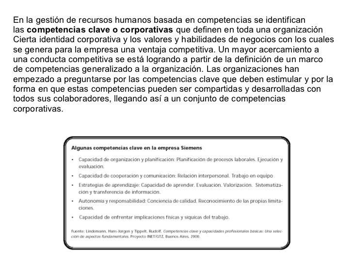 Gestion de Recursos Humanos basada en Competencias