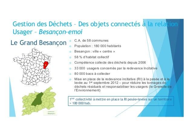 Le Grand Besançon o C.A. de 58 communes o Population : 180 000 habitants o Besançon : ville « centre » o 58 % d'habita...