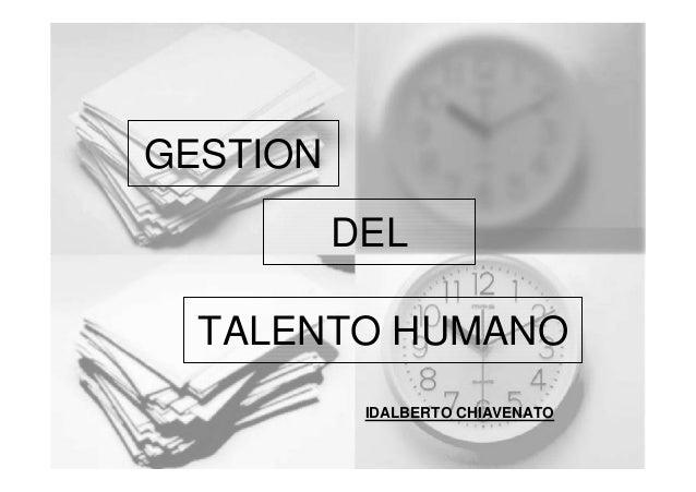 GESTION DEL TALENTO HUMANO IDALBERTO CHIAVENATO