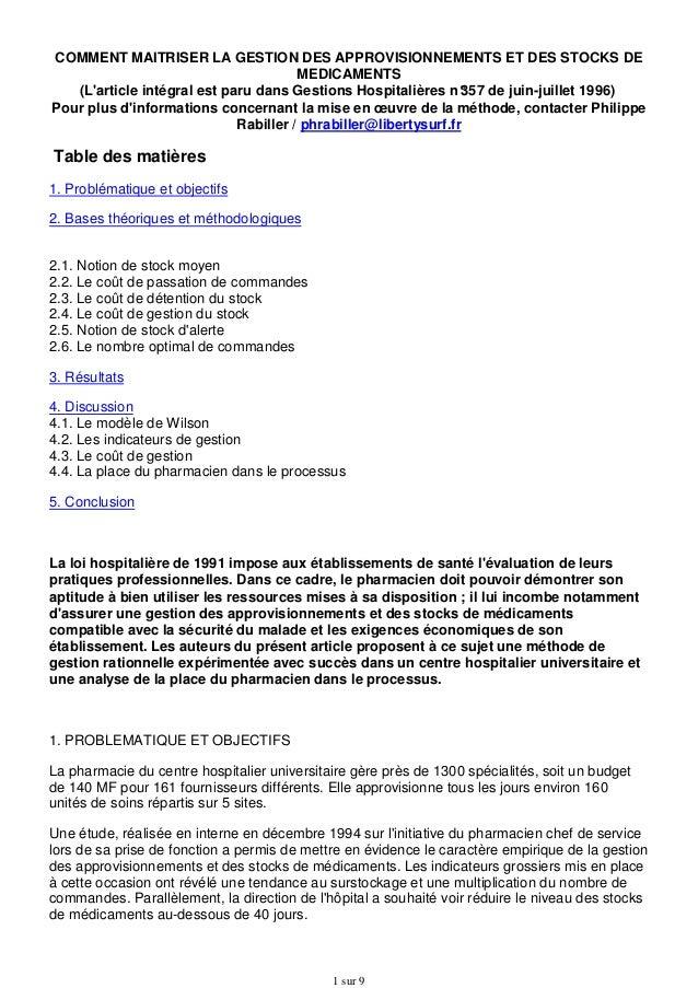 COMMENT MAITRISER LA GESTION DES APPROVISIONNEMENTS ET DES STOCKS DE MEDICAMENTS (L'article intégral est paru dans Gestion...