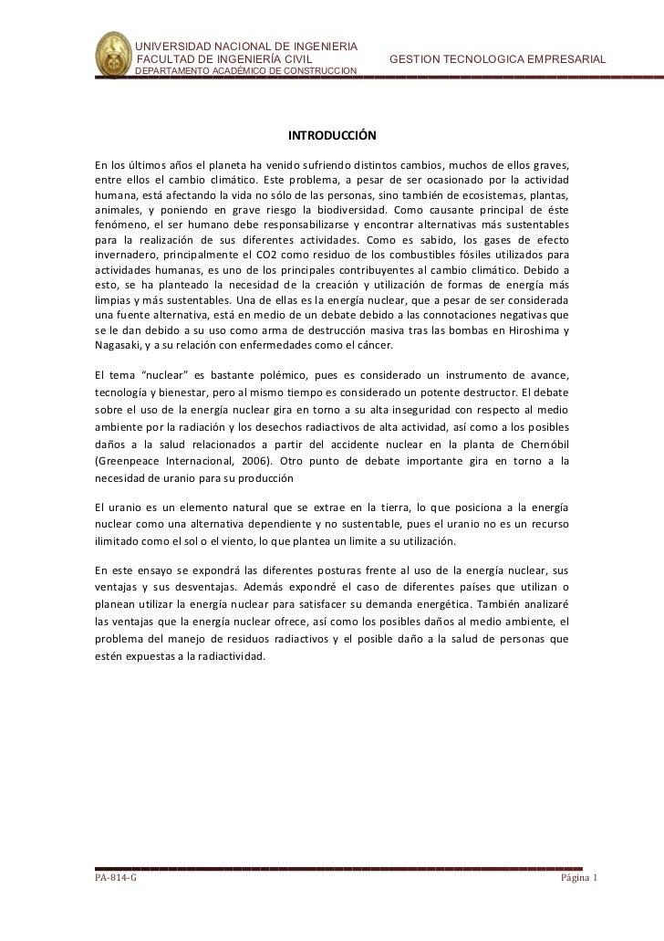 UNIVERSIDAD NACIONAL DE INGENIERIA        FACULTAD DE INGENIERÍA CIVIL                       GESTION TECNOLOGICA EMPRESARI...