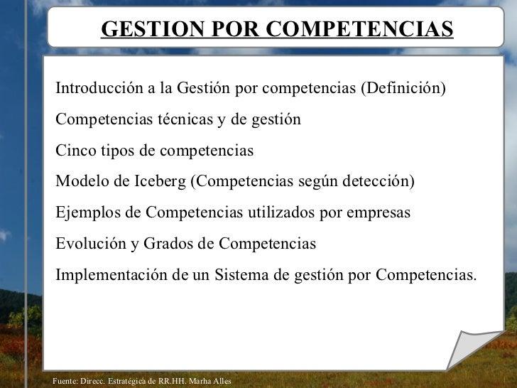 GESTION POR COMPETENCIAS Introducción a la Gestión por competencias (Definición) Competencias técnicas y de gestión Cinco ...