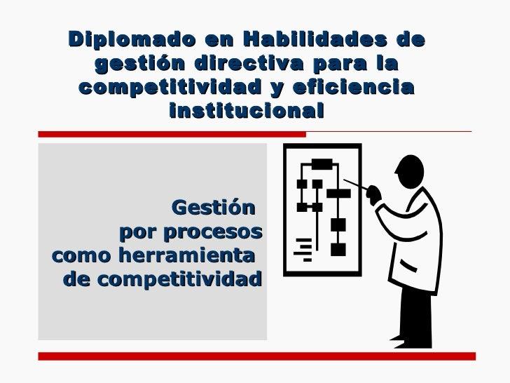 Diplomado en Habilidades de gestión directiva para la competitividad y eficiencia institucional Gestión  por procesos como...