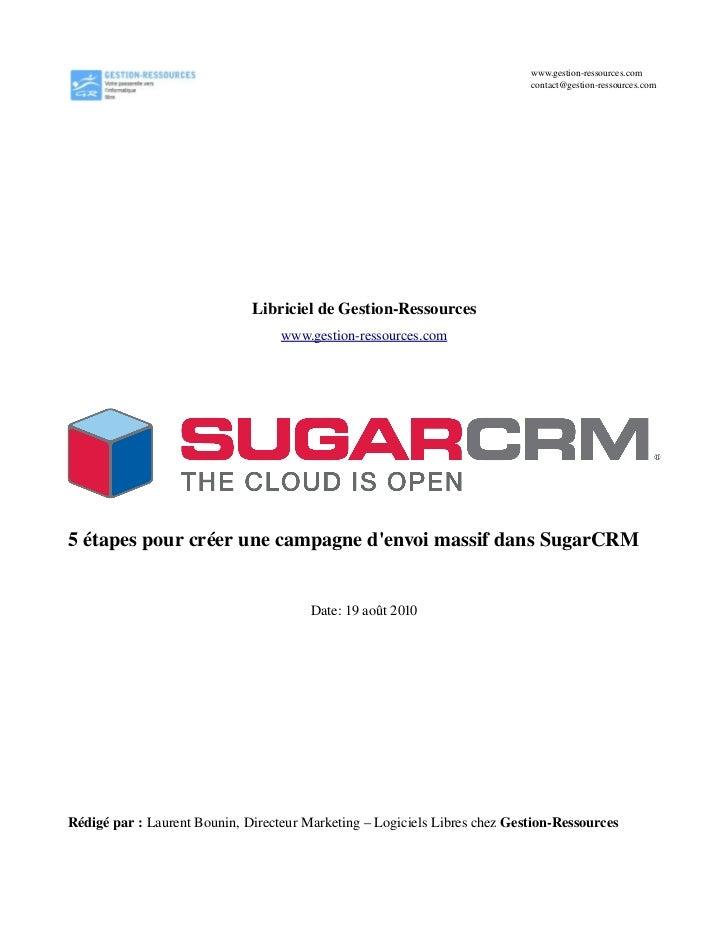 Libriciel sugar crm 1 - campagnes d'envoi massif