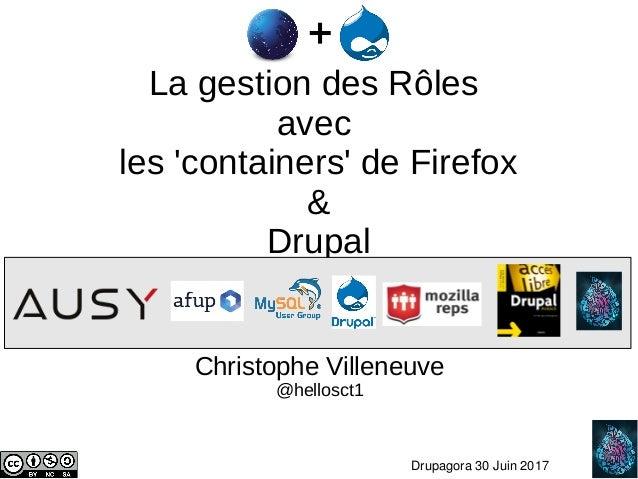 1 Drupagora30Juin2017 La gestion des Rôles avec les 'containers' de Firefox & Drupal Christophe Villeneuve @hellosc...