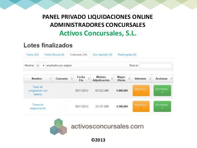 PANEL PRIVADO LIQUIDACIONES ONLINE  ADMINISTRADORES CONCURSALES     Activos Concursales, S.L.               ©2013