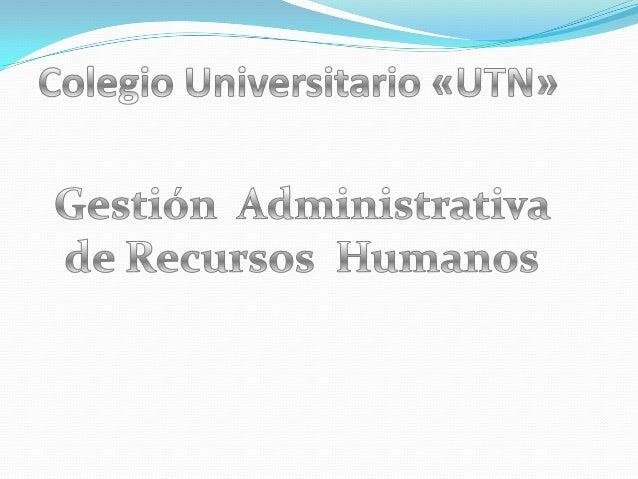 Gestion adminstrativa de recursos humanos