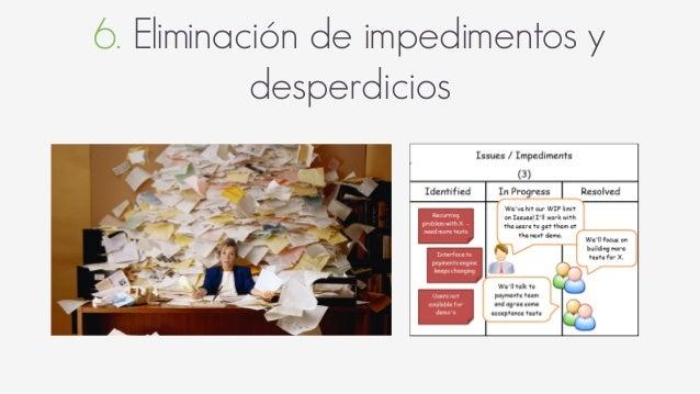 6. Eliminación de impedimentos y desperdicios Desperdicios en Software Trabajo parcialmente hecho Procesos extras Funciona...