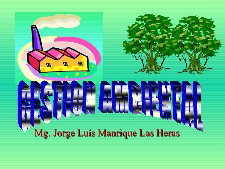 . Mg. Jorge Luís Manrique Las Heras GESTION AMBIENTAL