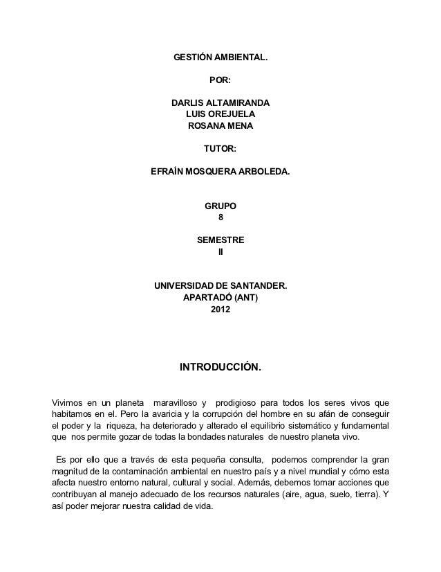 GESTIÓN AMBIENTAL.                                         POR:                               DARLIS ALTAMIRANDA          ...