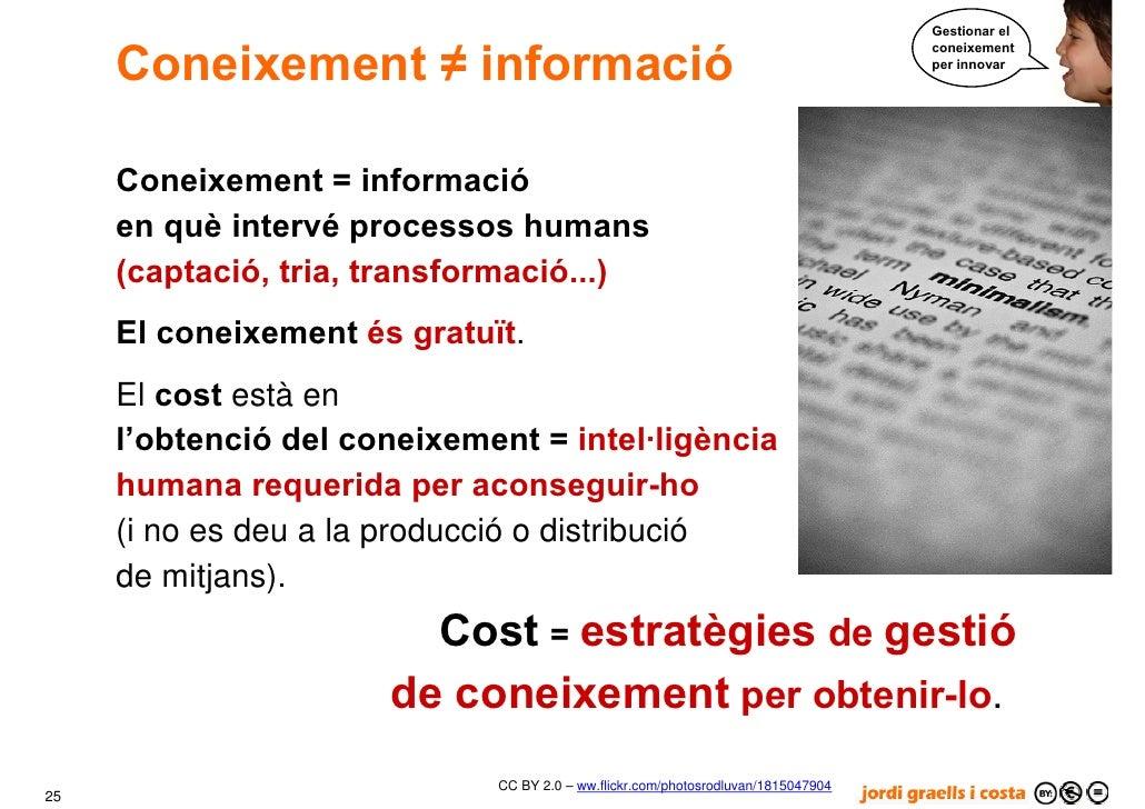 Gestionar el        Coneixement ≠ informació                                                                              ...