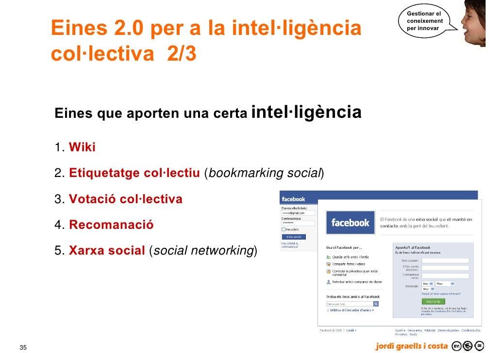 Gestionar el        Eines 2.0 per a la intel·ligència                                                       coneixement   ...