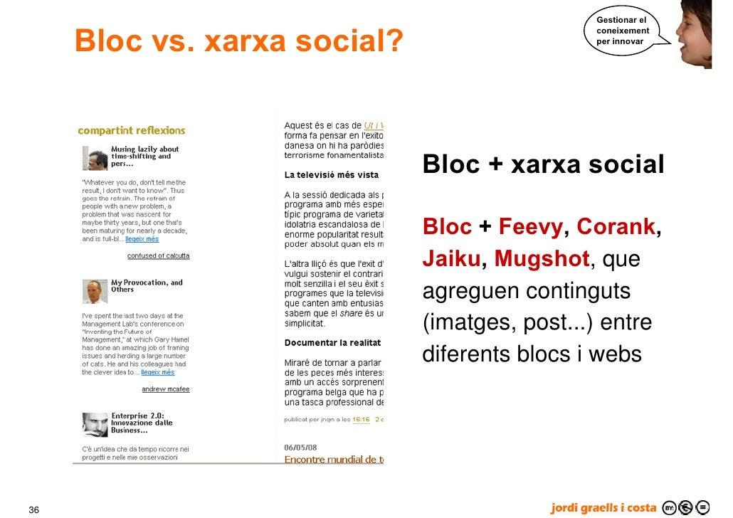 Gestionar el        Bloc vs. xarxa social?                                                coneixement                     ...