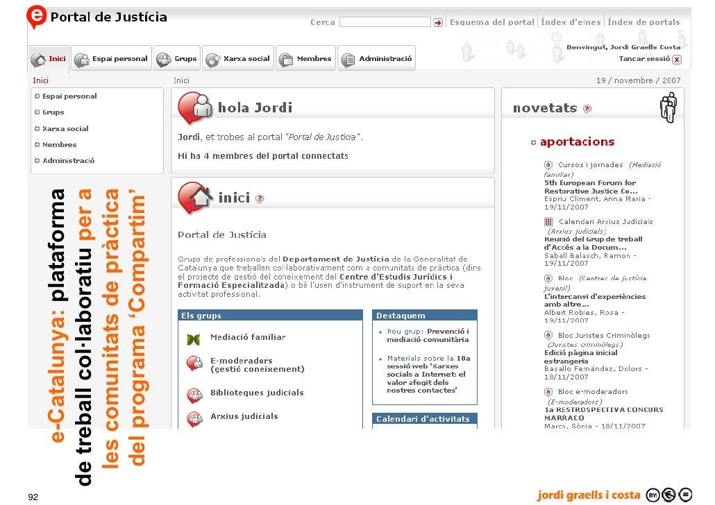 92          e-Catalunya: plataforma      de treball col·laboratiu per a       les comunitats de pràctica       del program...