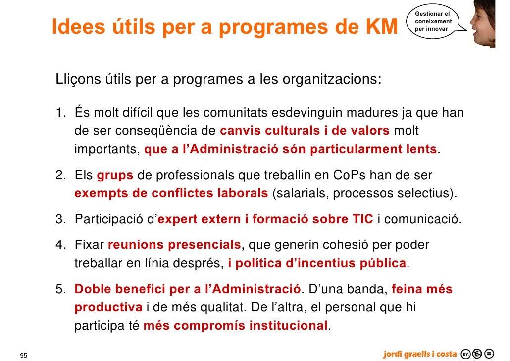 Gestionar el        Idees útils per a programes de KM                          coneixement                                ...