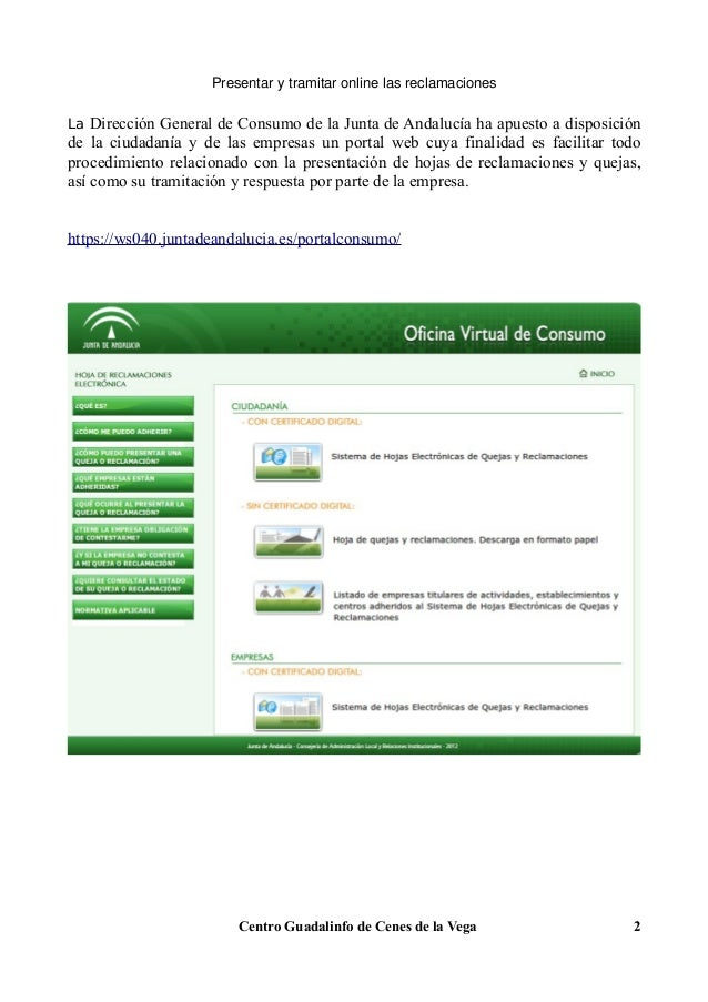 Manual oficina virtual de consumo c mo gestionar for Oficina virtual junta