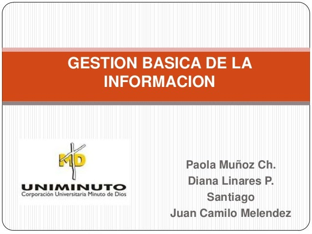 GESTION BASICA DE LA   INFORMACION             Paola Muñoz Ch.              Diana Linares P.                 Santiago     ...