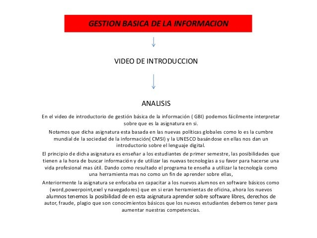 GESTION BASICA DE LA INFORMACION En el video de introductorio de gestión básica de la información ( GBI) podemos fácilment...