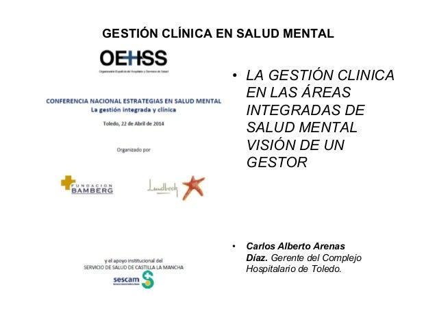 GESTIÓN CLÍNICA EN SALUD MENTAL • LA GESTIÓN CLINICA EN LAS ÁREAS INTEGRADAS DE SALUD MENTAL VISIÓN DE UN GESTOR • Carlos ...