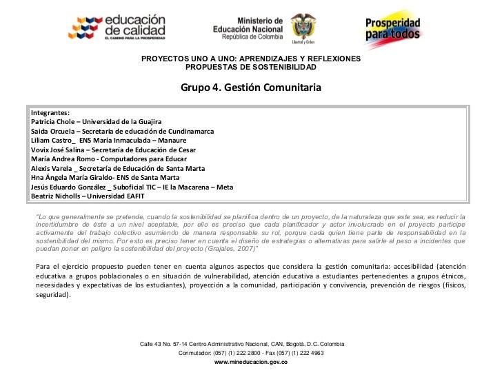 PROYECTOS UNO A UNO: APRENDIZAJES Y REFLEXIONES                                           PROPUESTAS DE SOSTENIBILIDAD    ...