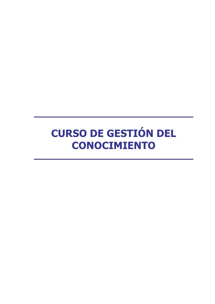 CURSO DE GESTIÓN DEL    CONOCIMIENTO