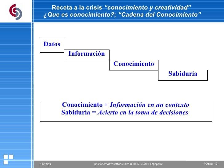 """Receta a la crisis  """"conocimiento y creatividad""""  ¿Que es conocimiento? ;  """"Cadena del Conocimiento"""" Datos Información Con..."""
