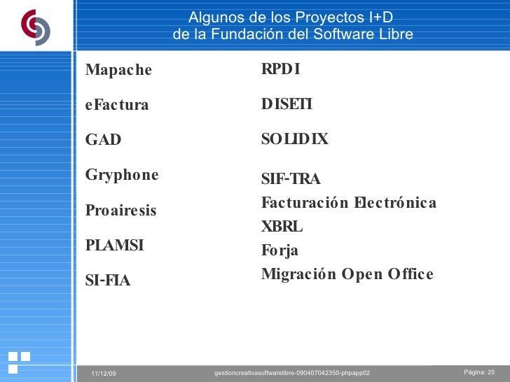 Algunos de los Proyectos I+D  de la Fundación del Software Libre Mapache eFactura GAD Gryphone Proairesis PLAMSI SI-FIA RP...