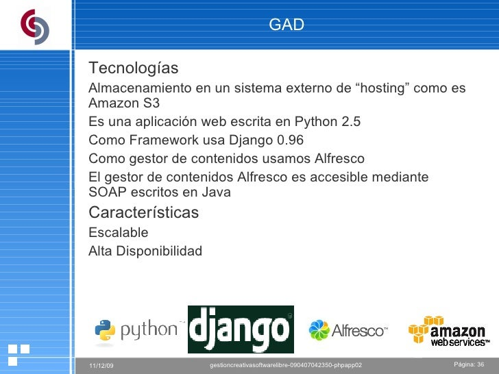 """GAD Tecnologías Almacenamiento en un sistema externo de """"hosting"""" como es Amazon S3 Es una aplicación web escrita en Pytho..."""