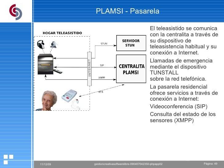 PLAMSI - Pasarela  El teleasistido se comunica con la centralita a través de su dispositivo de teleasistencia habitual y s...