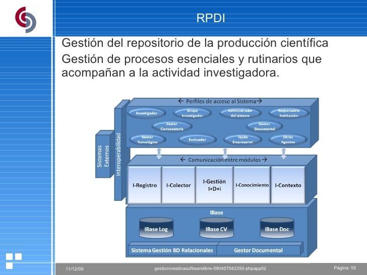 RPDI Gestión del repositorio de la producción científica Gestión de procesos esenciales y rutinarios que acompañan a la ac...