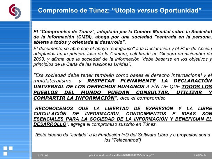 """Compromiso de Túnez: """"Utopía  versus  Oportunidad"""" El """"Compromiso de Túnez"""", adoptado por la Cumbre Mundial sobr..."""