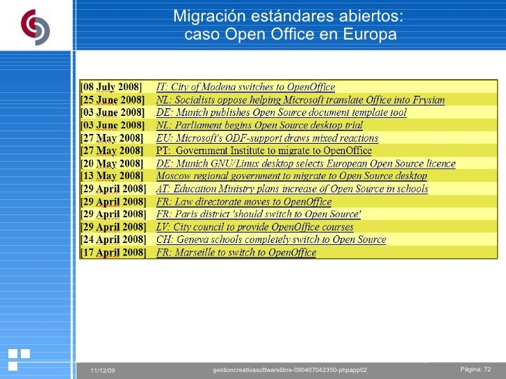 Migración estándares abiertos:  caso Open Office en Europa
