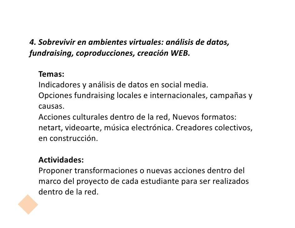 4. Sobrevivir en ambientes virtuales: análisis de datos,fundraising, coproducciones, creación WEB.  Temas:  Indicadores y ...
