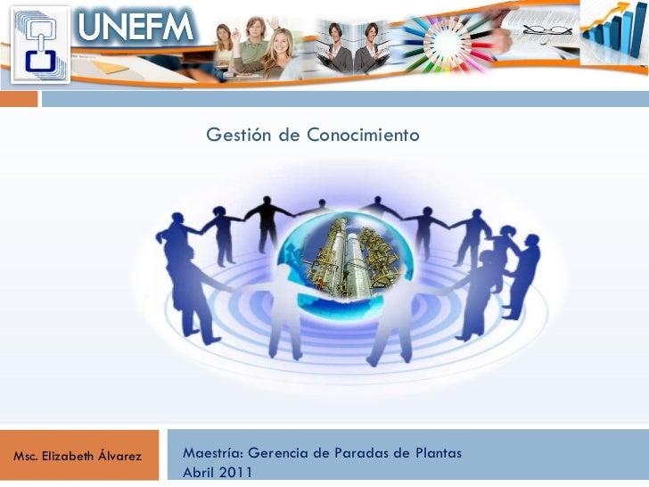 Maestría: Gerencia de Paradas de Plantas Abril 2011  Msc. Elizabeth Álvarez Gestión de Conocimiento