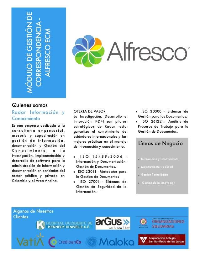 MÓDULODEGESTIÓNDE CORRESPONDENCIA- ALFRESCOECM Quienes somos Radar Información y Conocimiento Es una empresa dedicada a la...