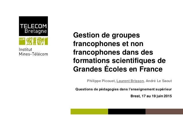 Institut Mines-Télécom Gestion de groupes francophones et non francophones dans des formations scientifiques de Grandes Éc...