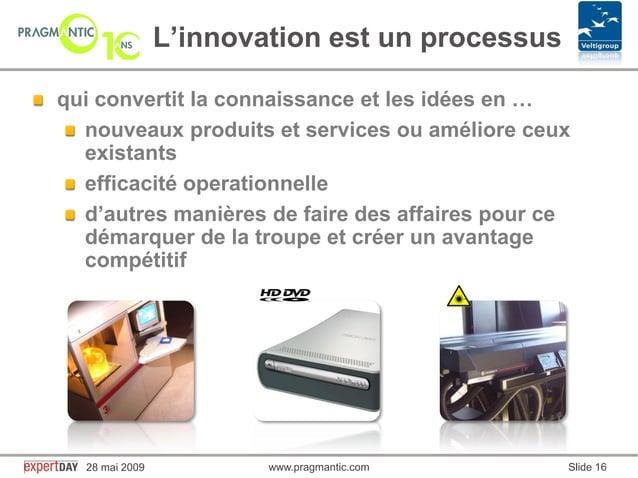 www.pragmantic.com Slide 1628 mai 2009 www.pragmantic.comqui convertit la connaissance et les idées en …nouveaux produits ...