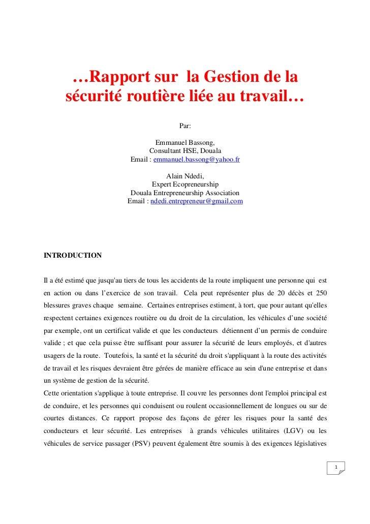 …Rapport sur la Gestion de la       sécurité routière liée au travail…                                                Par:...