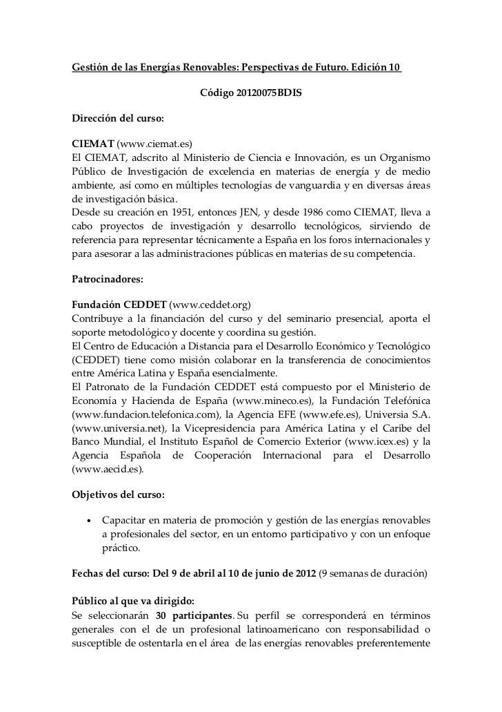 Gestión de las Energías Renovables: Perspectivas de Futuro. Edición 10                            Código 20120075BDISDirec...
