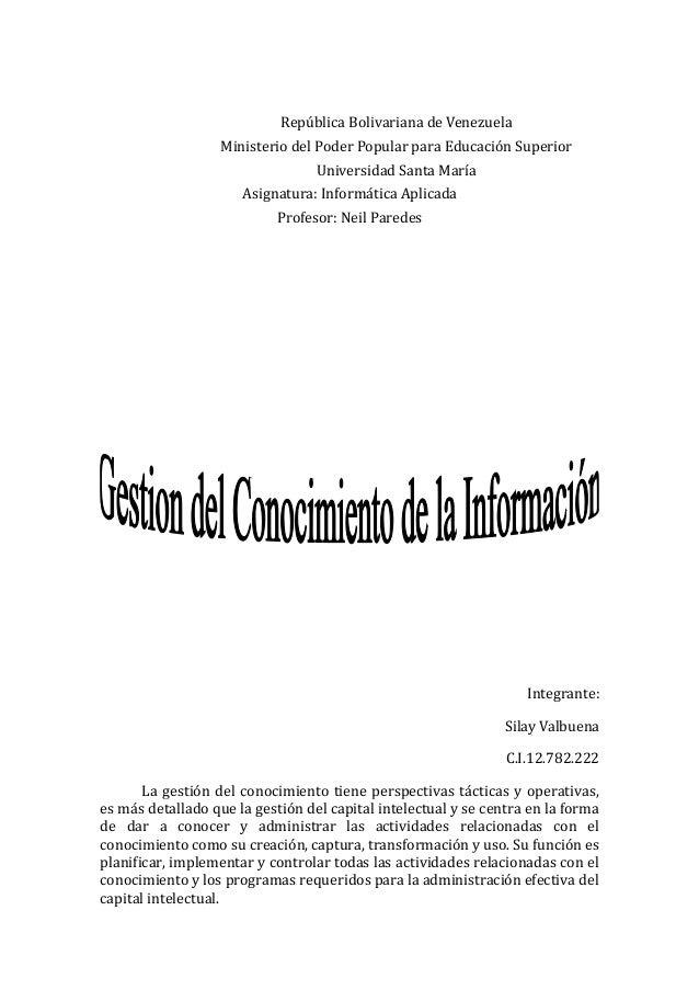 República Bolivariana de Venezuela Ministerio del Poder Popular para Educación Superior Universidad Santa María Asignatura...