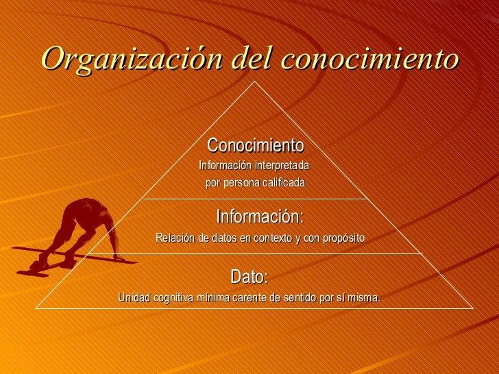 Organización del conocimiento <ul><li>Información: </li></ul><ul><li>Relación de datos en contexto y con propósito </li></...