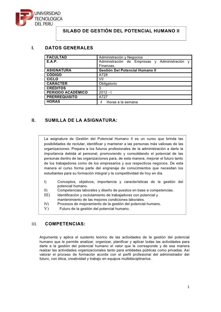 SILABO DE GESTIÓN DEL POTENCIAL HUMANO III.        DATOS GENERALES              FACULTAD                    Administración...