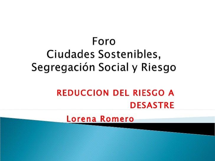 REDUCCION DEL RIESGO A DESASTRE Lorena Romero