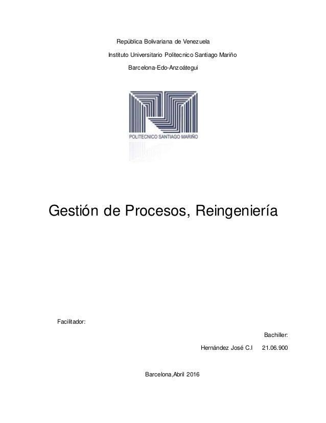 República Bolivariana de Venezuela Instituto Universitario Politecnico Santiago Mariño Barcelona-Edo-Anzoátegui Gestión de...