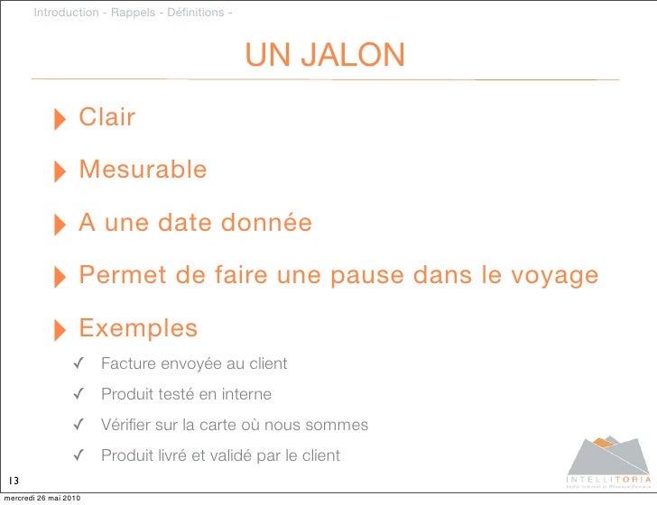 Introduction - Rappels - Définitions -                                                   UN JALON             ‣ Clair      ...