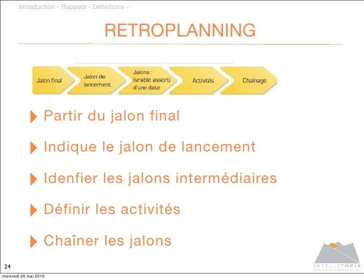 Introduction - Rappels - Définitions -                                       RETROPLANNING               ‣ Partir du jalon ...