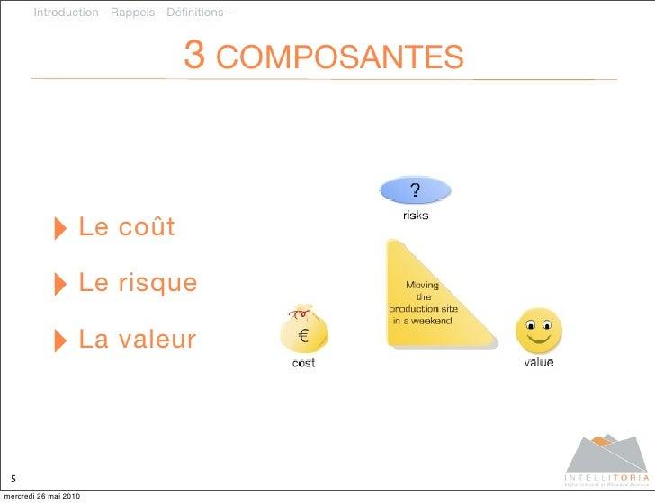 Introduction - Rappels - Définitions -                                      3 COMPOSANTES               ‣ Le coût          ...