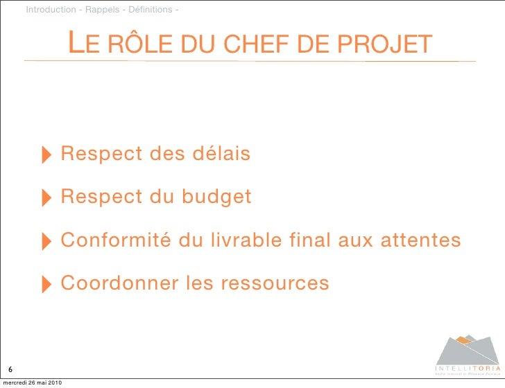Introduction - Rappels - Définitions -                           LE RÔLE DU CHEF DE PROJET              ‣ Respect des délai...