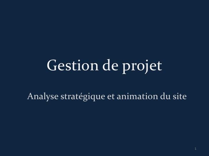 Gestion de projetAnalyse stratégique et animation du site                                           1
